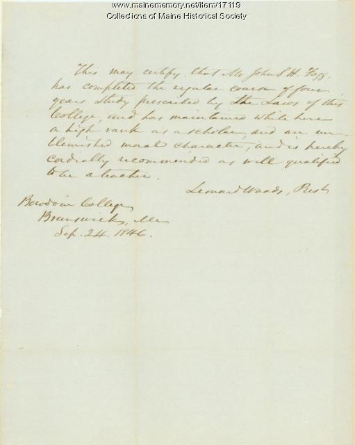 Leonard Woods letter to John Fogg, 1846