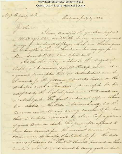 Stephen Longfellow letter concerning shipping case, Portland, 1826