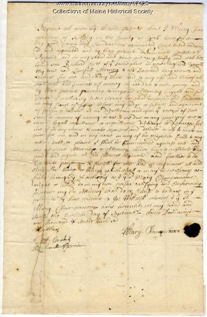 Mary Champernowne power of attorney, Kittery, 1700