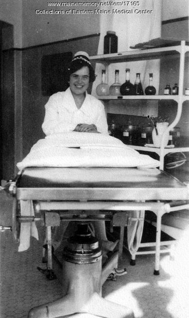 Operating room supervisor, Eastern Maine General Hospital, ca. 1920