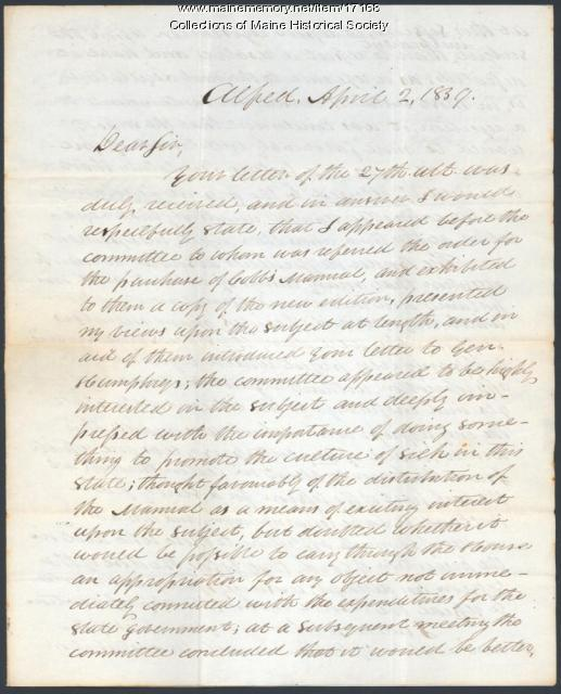 William C. Allen letter to Parker Cleaveland, 1839