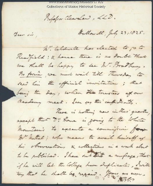 Benjamin Vaughan note to Parker Cleaveland, 1825