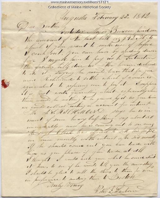 Peter Sanborn letter to Joseph Sanborn, 1842