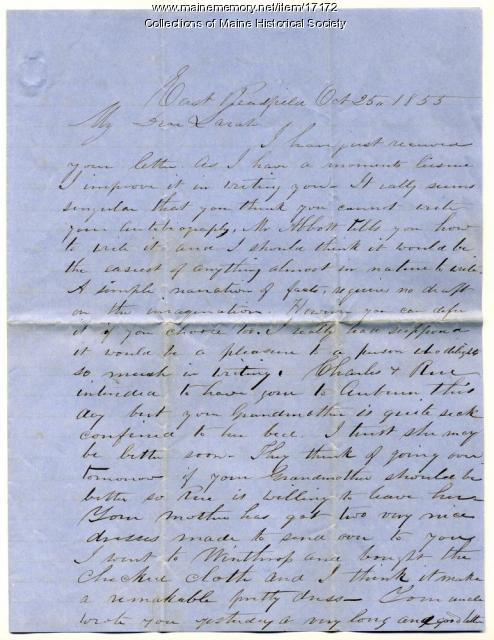 Peter F. Sanborn letter to his daughter, Sarah, 1855