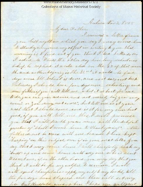 Sarah Sanborn letter to father, 1855