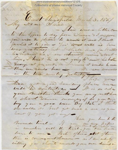 Letter from Peter Sanborn to daughter, 1857