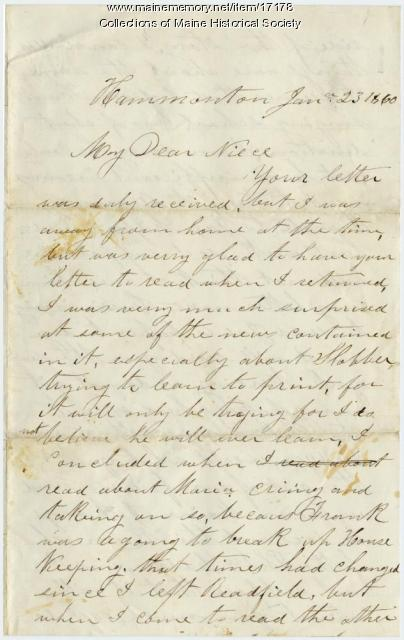 Letter from Charles Vosmus to Sarah Sanborn, 1860