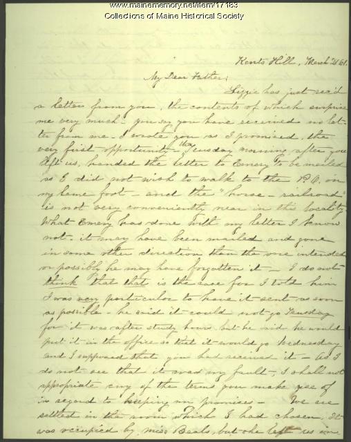 Sarah Sanborn letter to Peter F. Sanborn, 1861