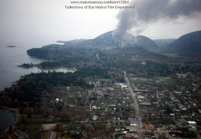 Aerial View of Jackson Laboratory Fire, Bar Harbor, 1989