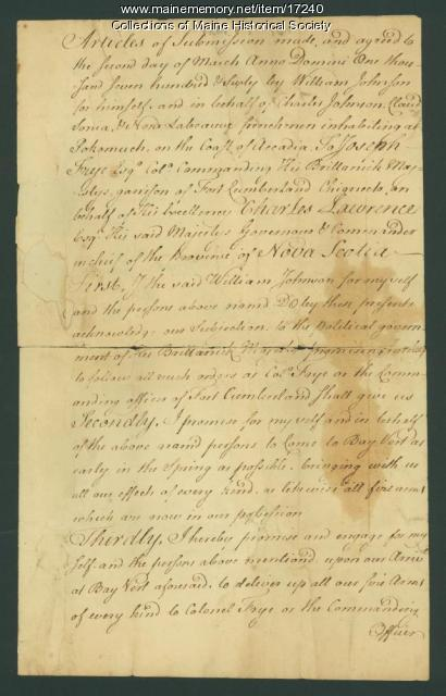 Article of submission to British, March 2, 1760