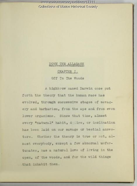 Allagash trip diary, 1911