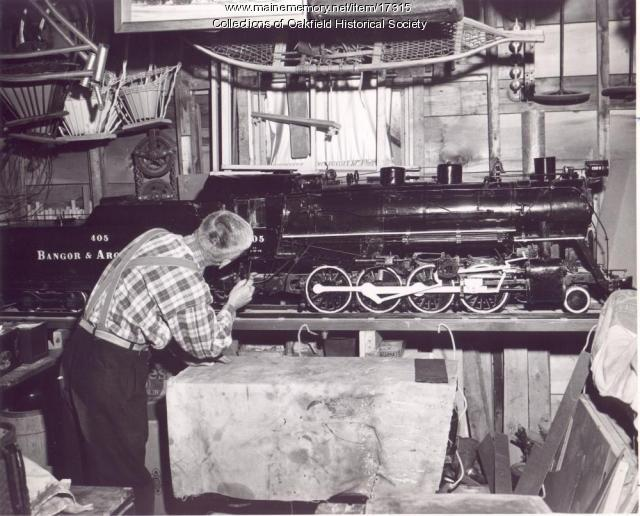 Ed Rolfe Completes Model of B&A Engine 405, Milo, 1956