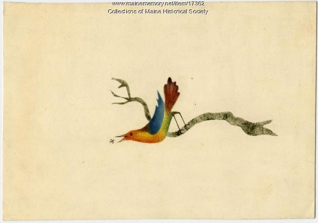Card painted by Persis Sibley, ca. 1831