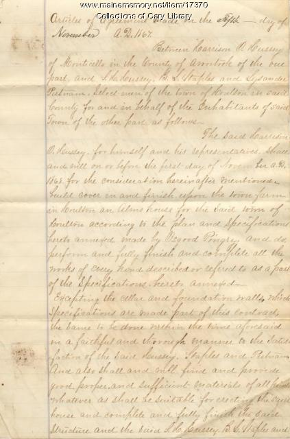 Alms House agreement, Houlton, 1867
