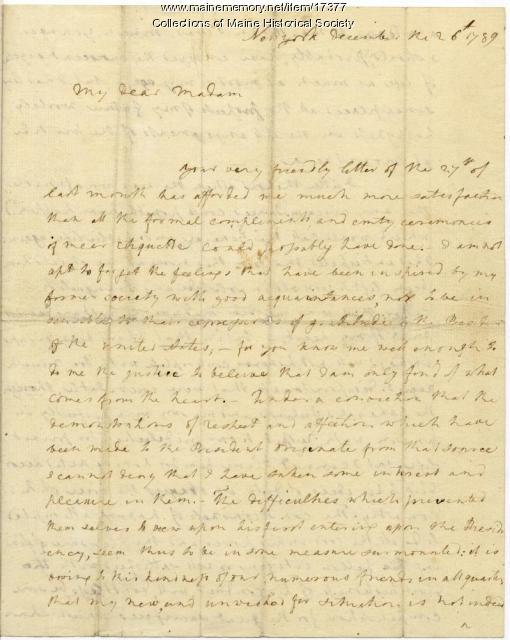 Letter from Martha Washington to Mrs. Warren, 1789