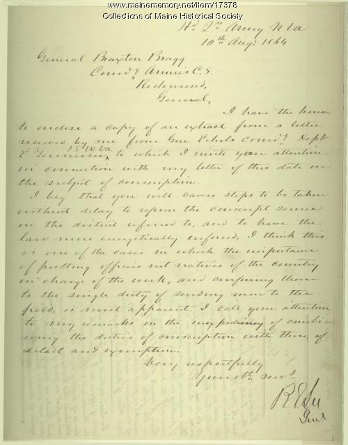 Letter from Robert E. Lee to Gen. Braxton Bragg, 1864