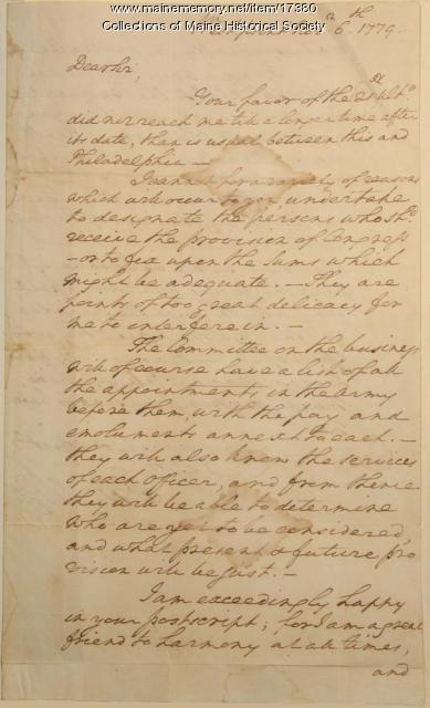 George Washington letter to Gov. Morris, 1779
