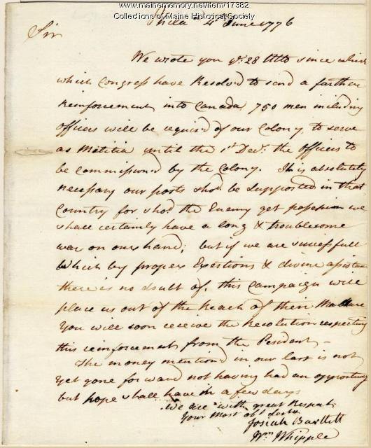 Letter concerning militia to Canada, 1776