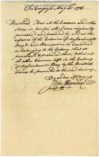 Continental Congress resolution, 1776