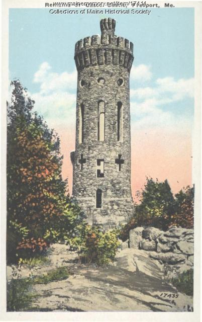 Casco Castle tower, South Freeport, ca. 1925