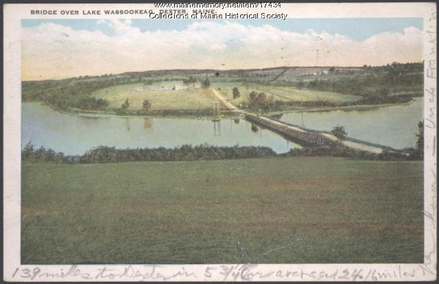 Bridge over Lake Wassokeag, Dexter, ca. 1925