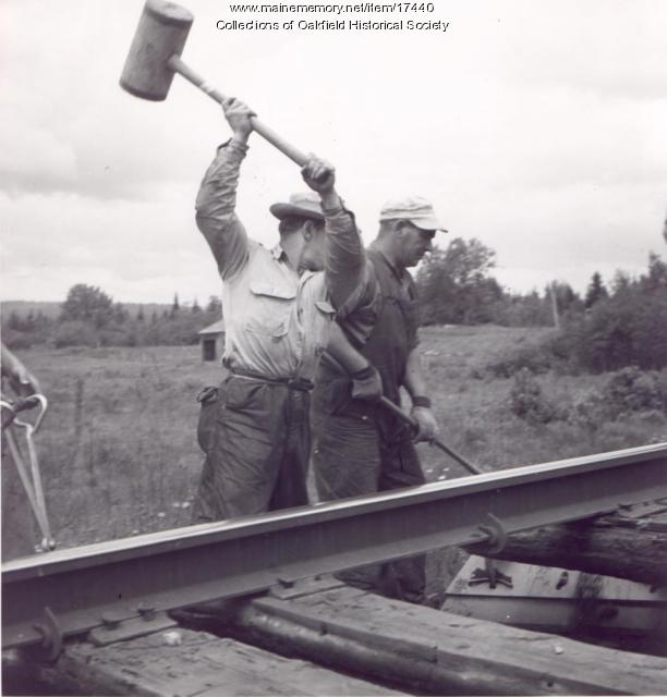 Bangor and Aroostook Railroad track repair, ca. 1955