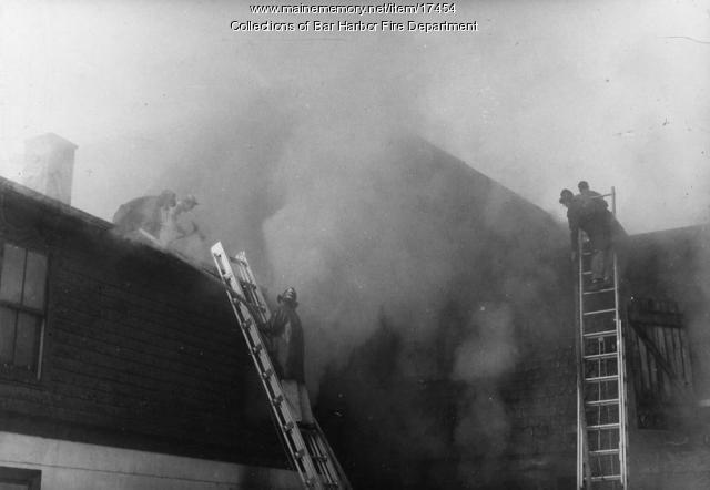 Fire at A.B. and J.R. Hodgkins, Bar Harbor, 1957