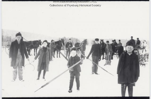Chopping ice, Fryeburg, ca. 1900