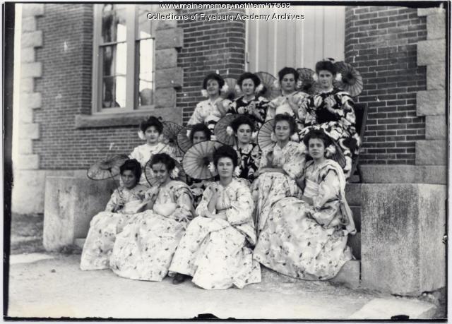 Girls modeling kimonos, Fryeburg, ca. 1906