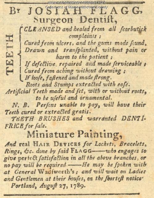 Dentist advertisement, Portland, 1789