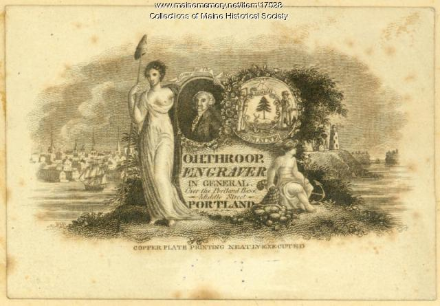 Orramel Hinckley Throop business card, ca. 1820