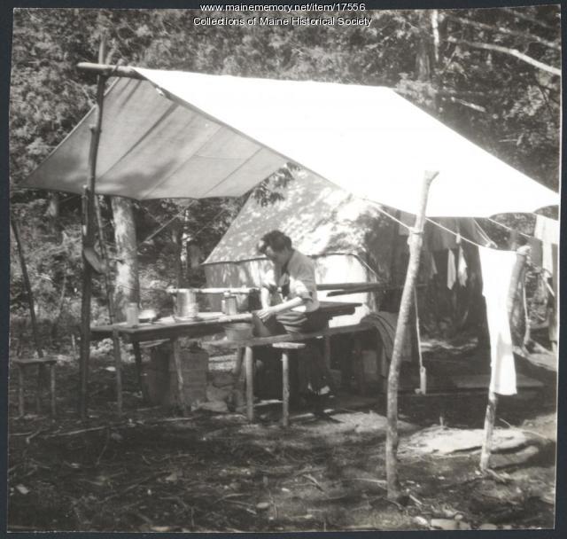 Preparing a meal, Lobster Lake, 1909