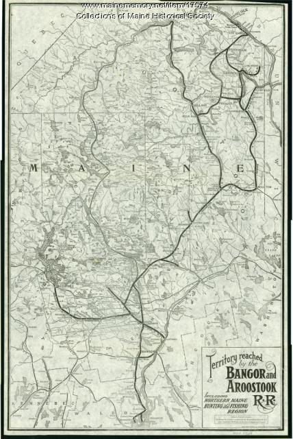 Railroad map of Northern Maine, 1910
