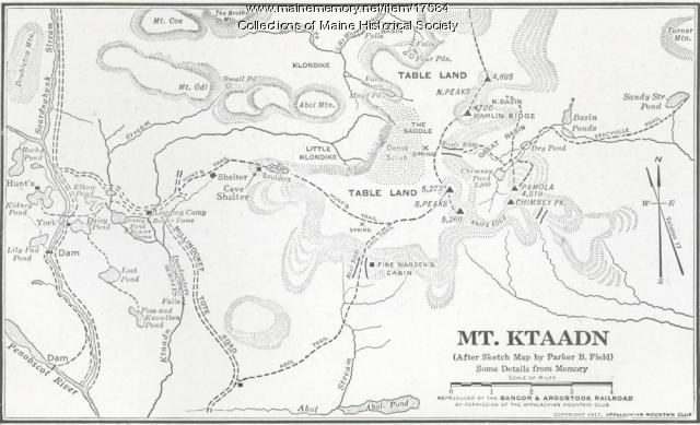 Map of Mt. Ktaadn, 1917