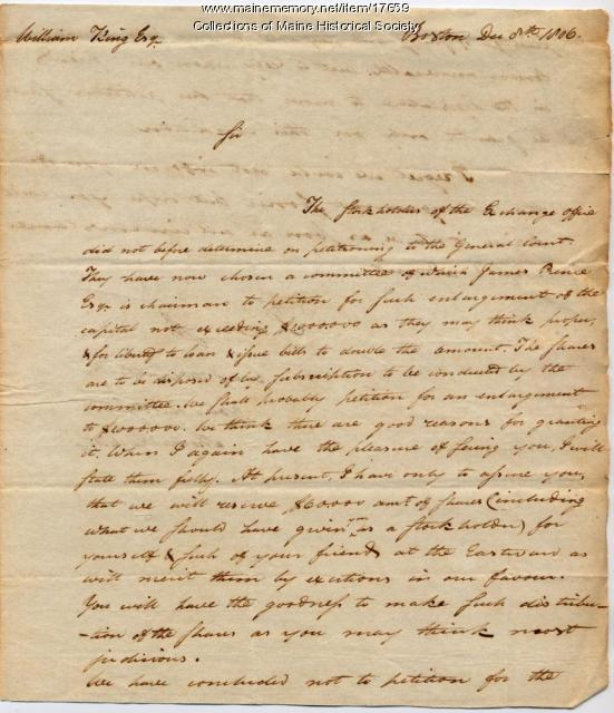 Andrew Dexter letter to William King, 1806