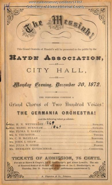 Haydn Association advertisement, Portland, 1872