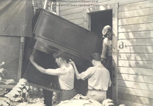 Moving a piano, Eastern Music Camp, ca. 1931