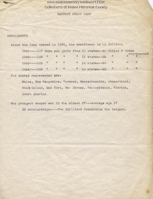 Enrollment report, Eastern Music Camp, ca. 1934
