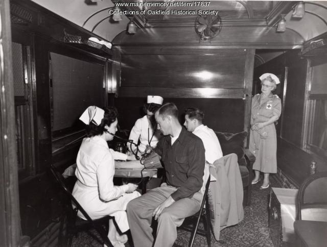Railroad blood drive car,  Houlton, 1952