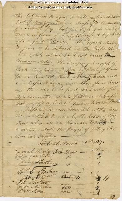 Portland Observatory subscriber agreement, 1807