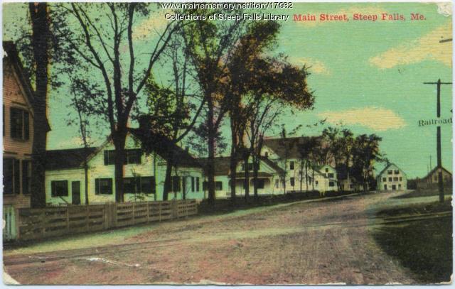 Main Street, Steep Falls, Maine postcard, c. 1905