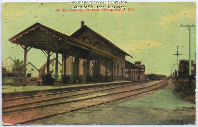 Train station, Steep Falls, ca. 1910