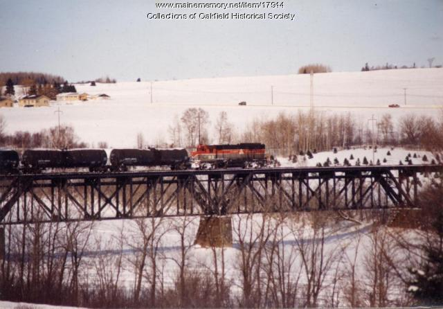 Bangor and Aroostook Railroad Train Crossing the Aroostook River Bridge, Presque Isle, c. 1990