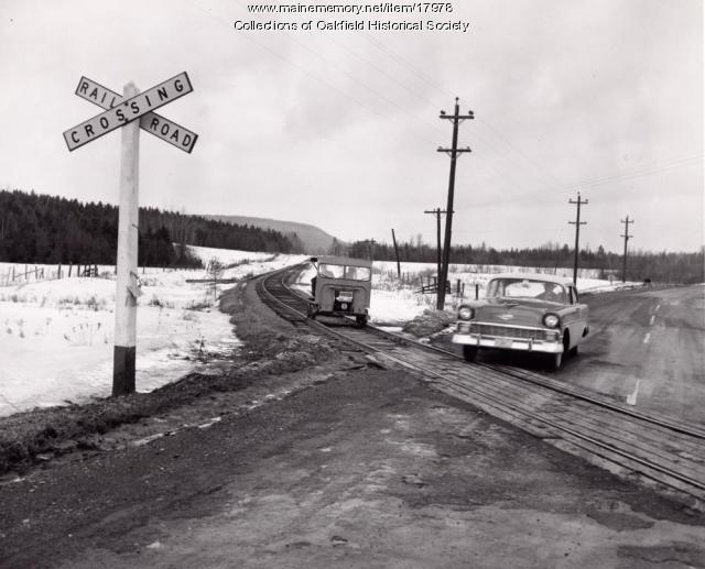 1956 Chevrolet Belair at a Bangor and Aroostook Railroad grade level crossing, c. 1956