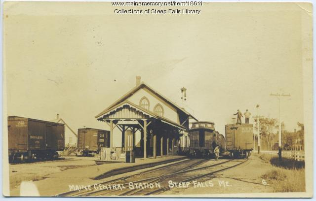 Railroad station, Steep Falls, ca. 1930