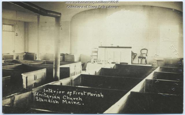 Interior of First Parish Church, Standish, ca. 1930
