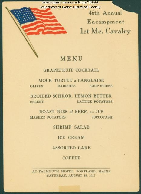 1st Maine Cavalry Encampment menu, 1917
