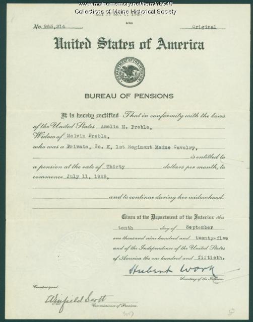 War pension certificate, 1925