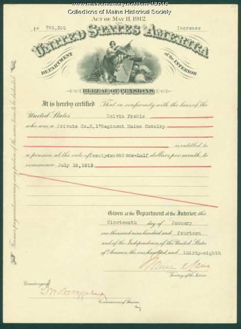 Civil War pension certificate, 1914