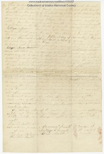 Indenture of Eliza Ann Burham, 1838